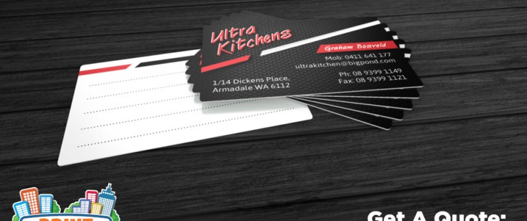 Categories business cards archive print town this is a business card we created for ultra kitchens it is printed double sided on a 360gsm premium gloss artboard this card was gloss laminated on the reheart Choice Image